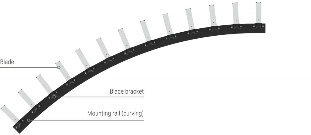 Sculptform Facade Blades curving rail